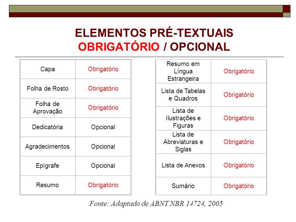 ELEMENTOS PRÉ-TEXTUAIS OBRIGATÓRIO / OPCIONAL