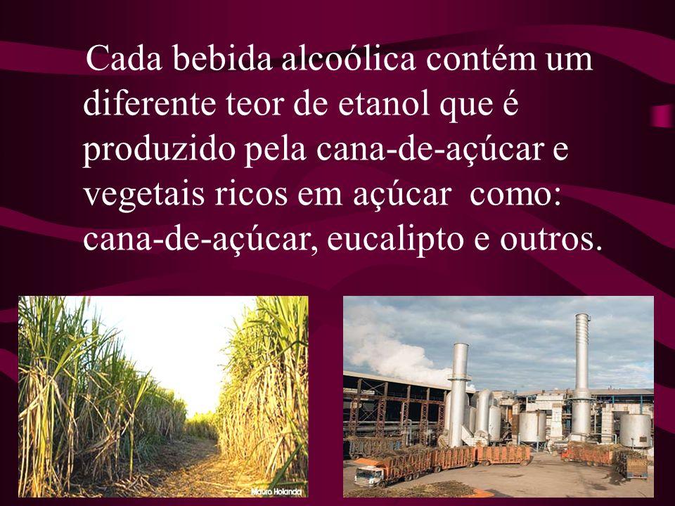 Cada bebida alcoólica contém um diferente teor de etanol que é produzido pela cana-de-açúcar e vegetais ricos em açúcar como: cana-de-açúcar, eucalipto e outros.