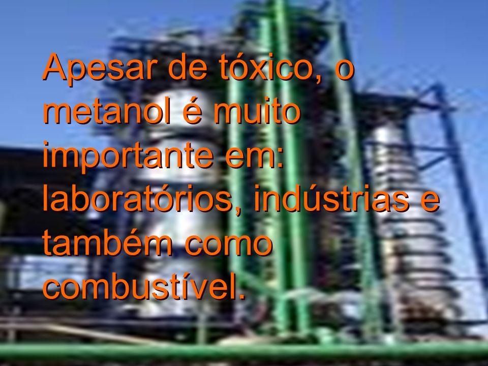 Apesar de tóxico, o metanol é muito importante em: laboratórios, indústrias e também como combustível.
