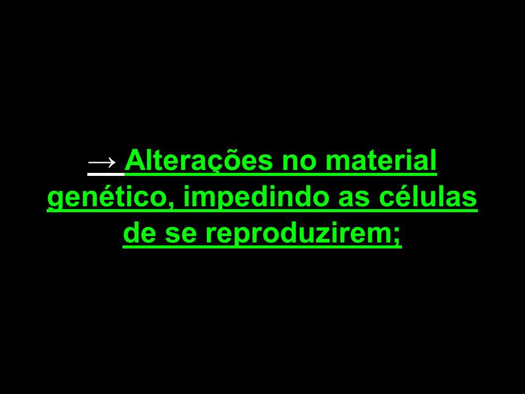 → Alterações no material genético, impedindo as células de se reproduzirem;