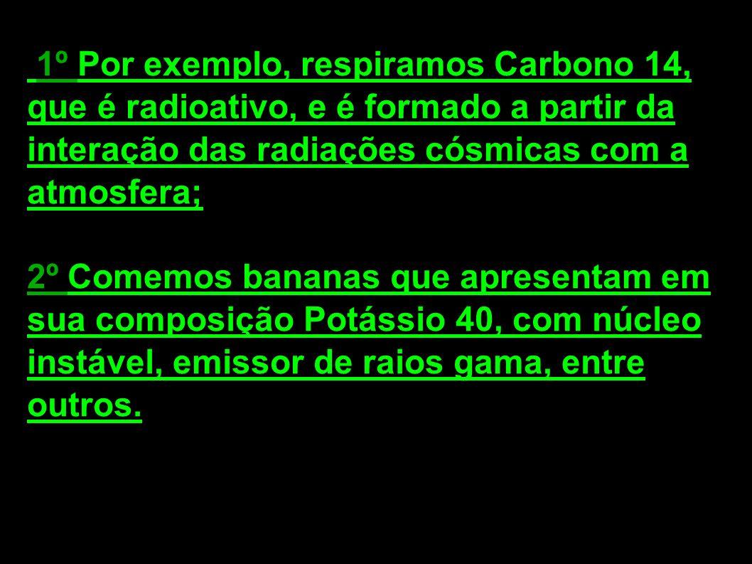 1º Por exemplo, respiramos Carbono 14, que é radioativo, e é formado a partir da interação das radiações cósmicas com a atmosfera; 2º Comemos bananas que apresentam em sua composição Potássio 40, com núcleo instável, emissor de raios gama, entre outros.