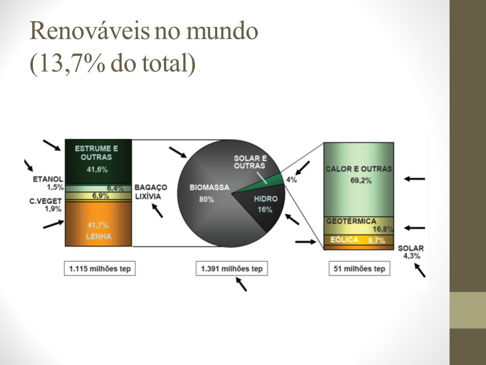 Renováveis no mundo (13,7% do total)
