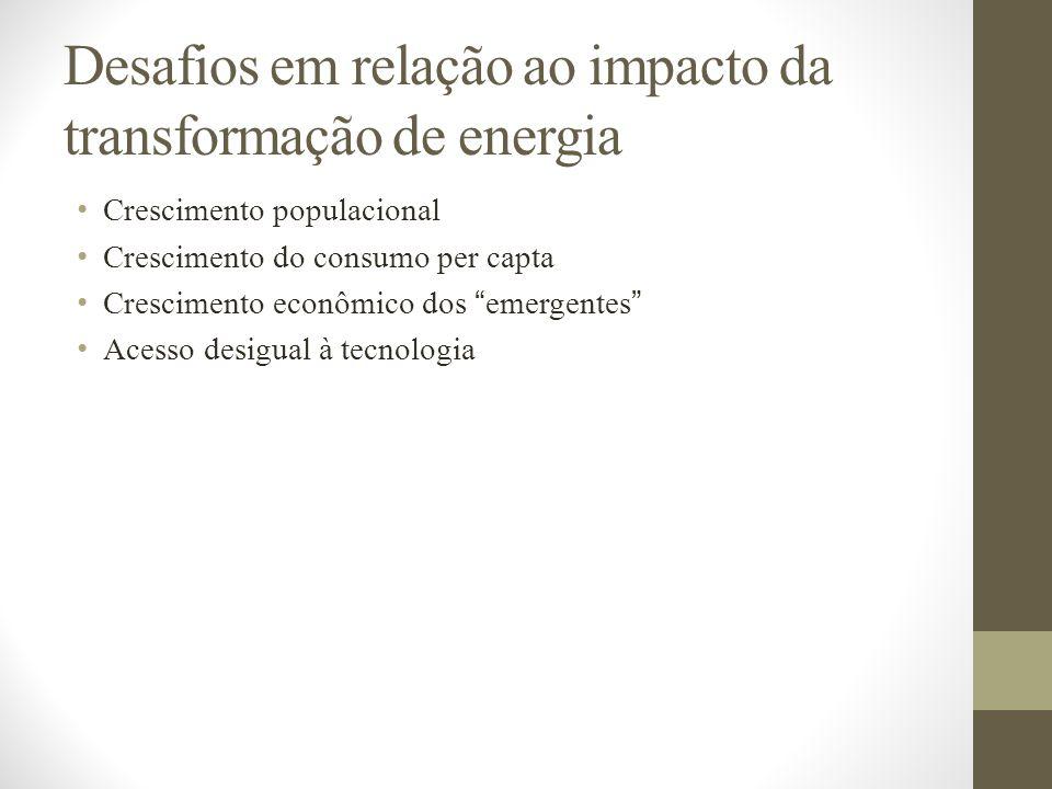 Desafios em relação ao impacto da transformação de energia