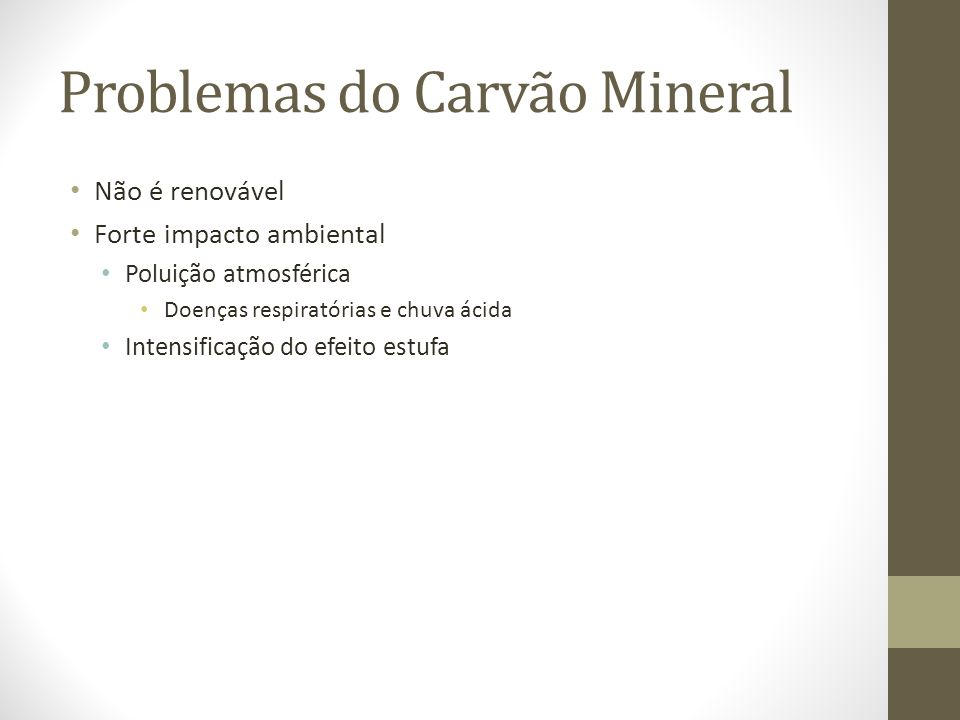 Problemas do Carvão Mineral