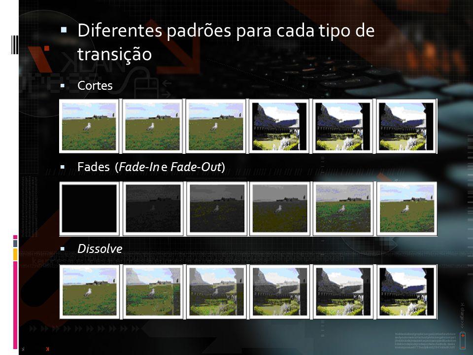 Diferentes padrões para cada tipo de transição