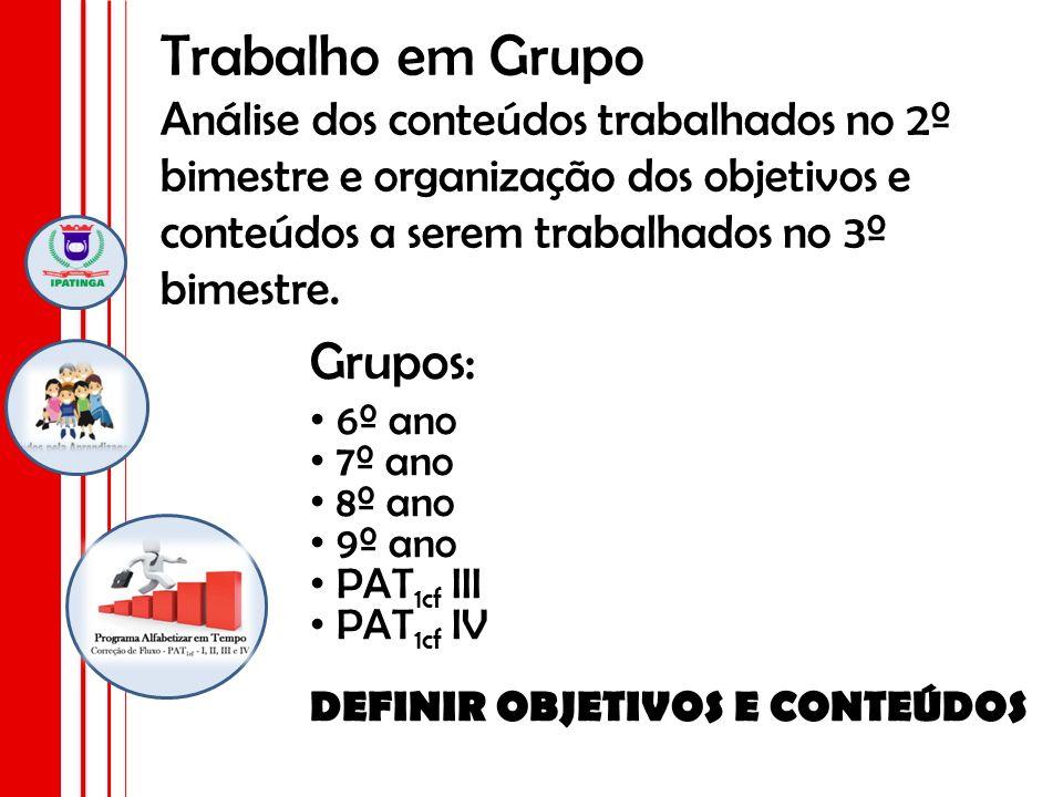 Trabalho em Grupo Análise dos conteúdos trabalhados no 2º bimestre e organização dos objetivos e conteúdos a serem trabalhados no 3º bimestre.