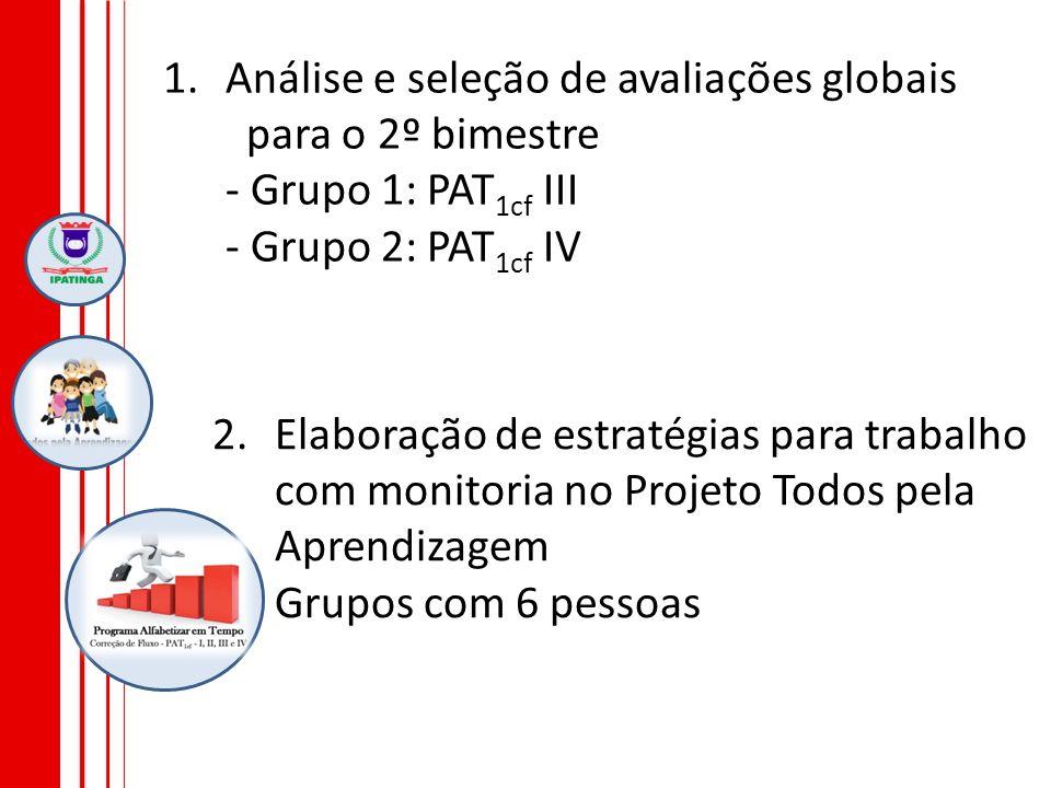 Análise e seleção de avaliações globais para o 2º bimestre - Grupo 1: PAT1cf III - Grupo 2: PAT1cf IV