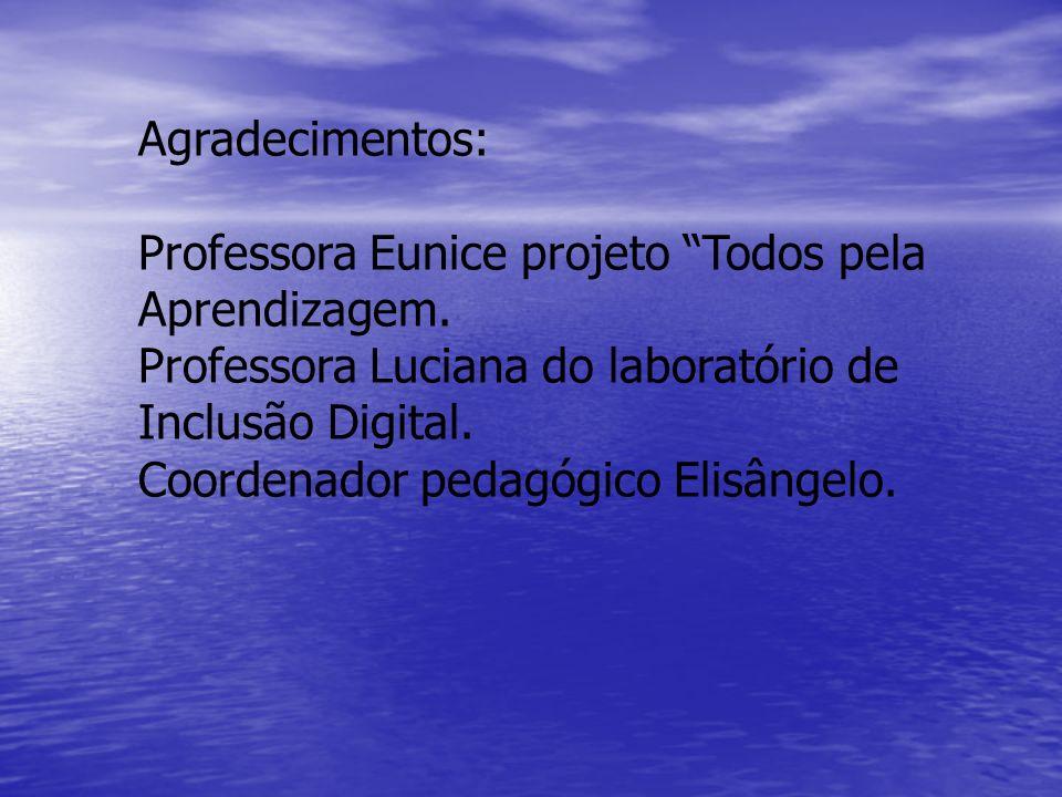 Agradecimentos: Professora Eunice projeto Todos pela. Aprendizagem. Professora Luciana do laboratório de.