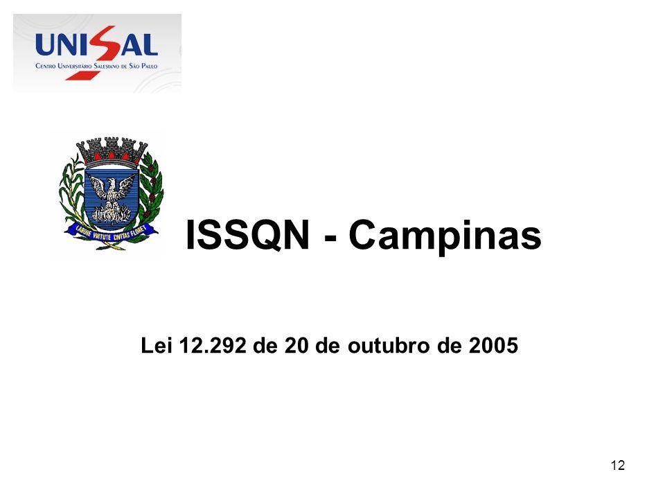 ISSQN - Campinas Lei 12.292 de 20 de outubro de 2005