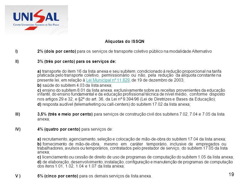 Alíquotas do ISSQN 2% (dois por cento) para os serviços de transporte coletivo público na modalidade Alternativo.