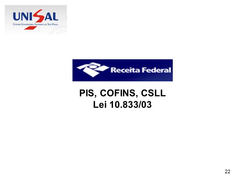 PIS, COFINS, CSLL Lei 10.833/03