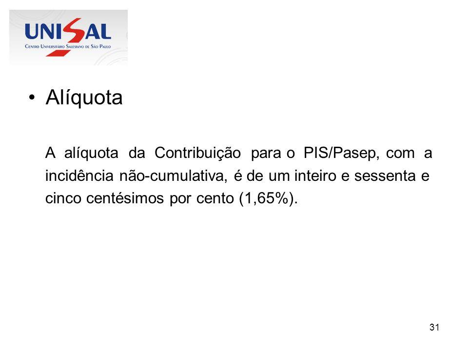 Alíquota A alíquota da Contribuição para o PIS/Pasep, com a