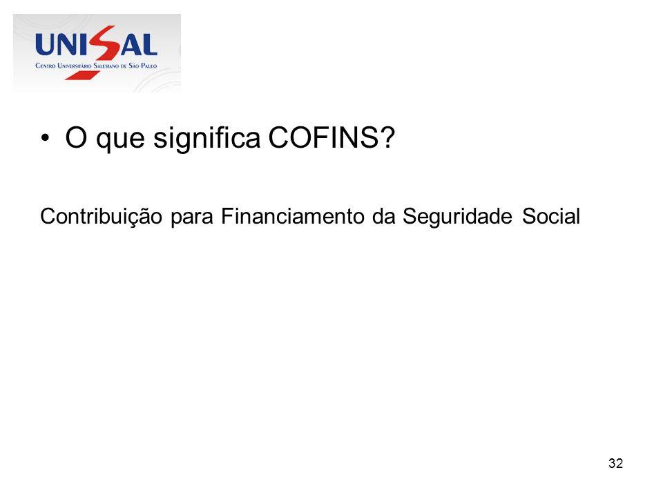 O que significa COFINS Contribuição para Financiamento da Seguridade Social