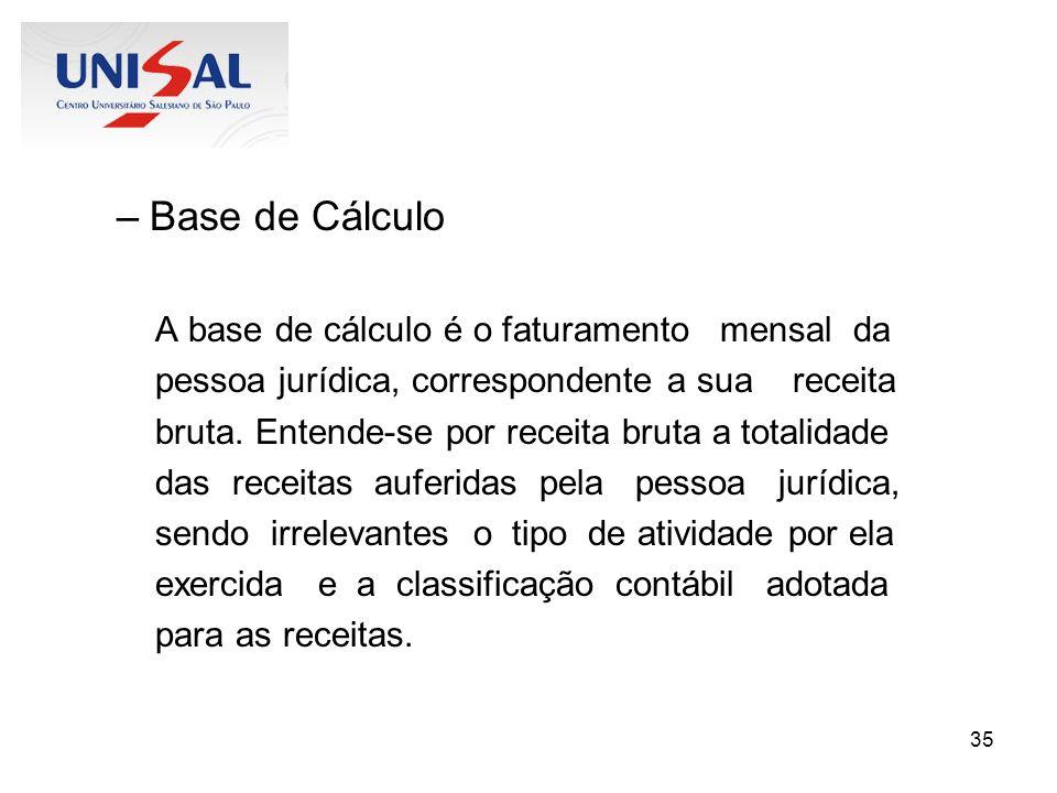 Base de Cálculo A base de cálculo é o faturamento mensal da