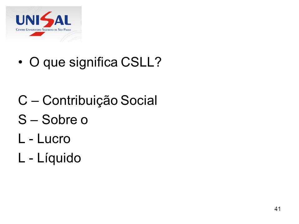 O que significa CSLL C – Contribuição Social S – Sobre o L - Lucro L - Líquido