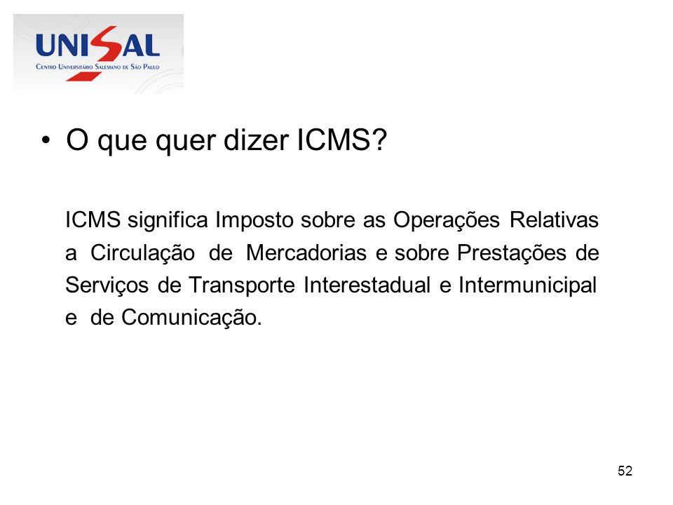 O que quer dizer ICMS ICMS significa Imposto sobre as Operações Relativas. a Circulação de Mercadorias e sobre Prestações de.