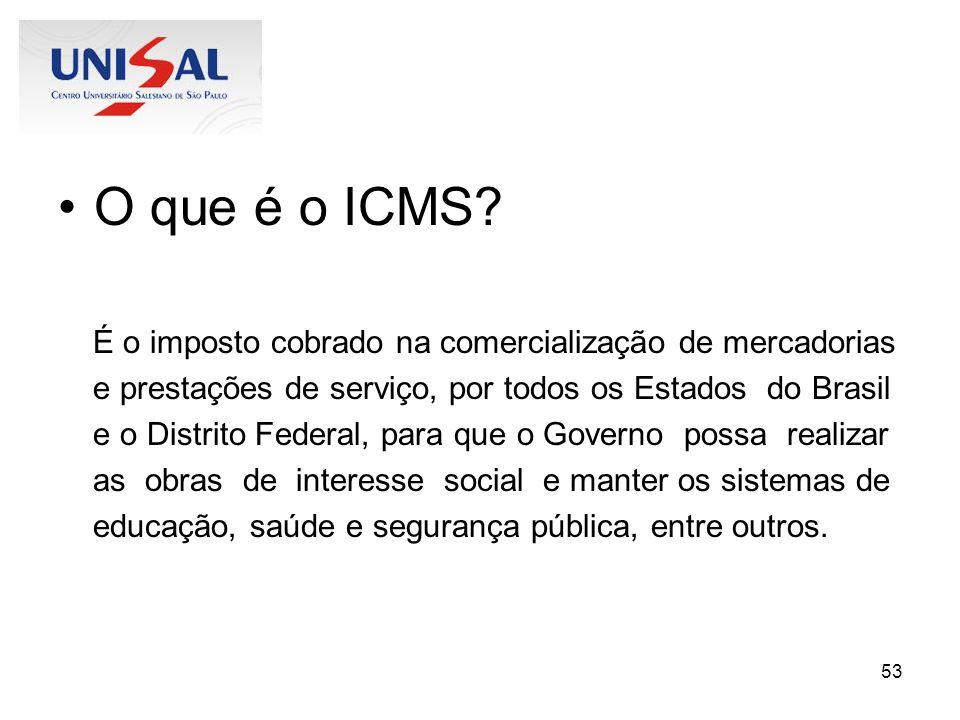 O que é o ICMS É o imposto cobrado na comercialização de mercadorias