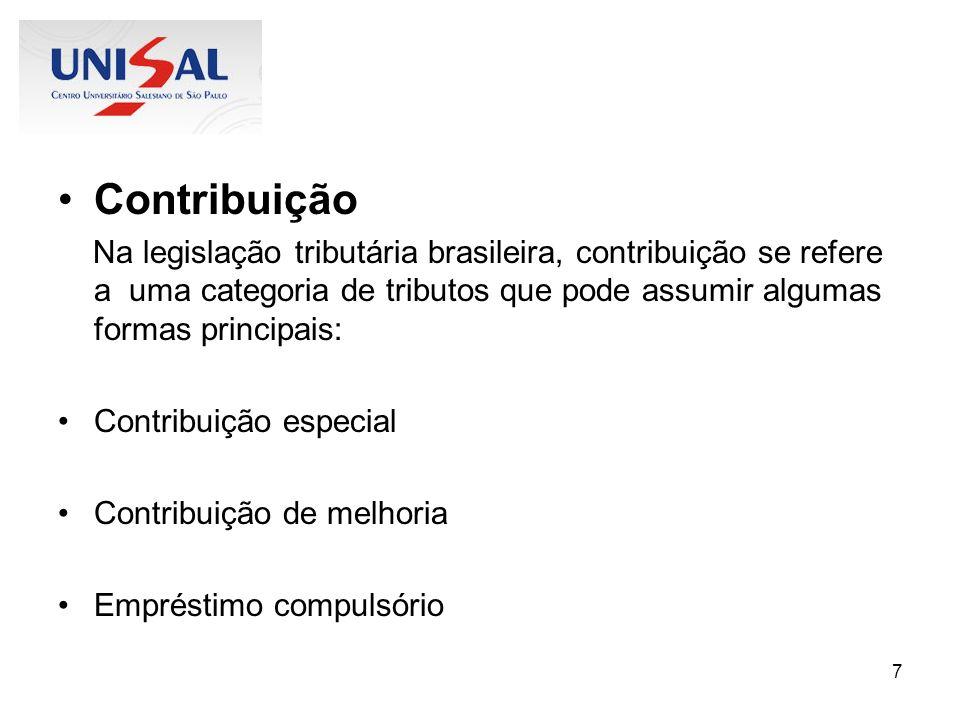 Contribuição Na legislação tributária brasileira, contribuição se refere a uma categoria de tributos que pode assumir algumas formas principais: