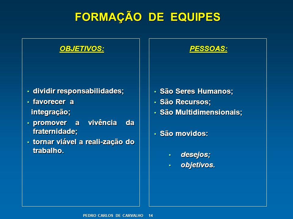FORMAÇÃO DE EQUIPES OBJETIVOS: PESSOAS: dividir responsabilidades;