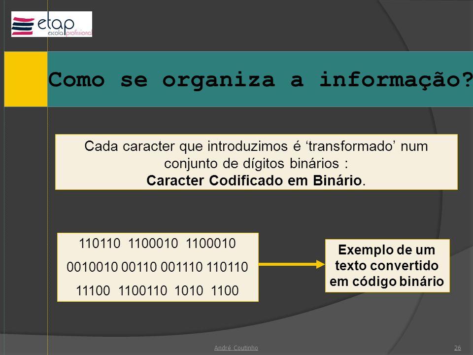 Exemplo de um texto convertido em código binário