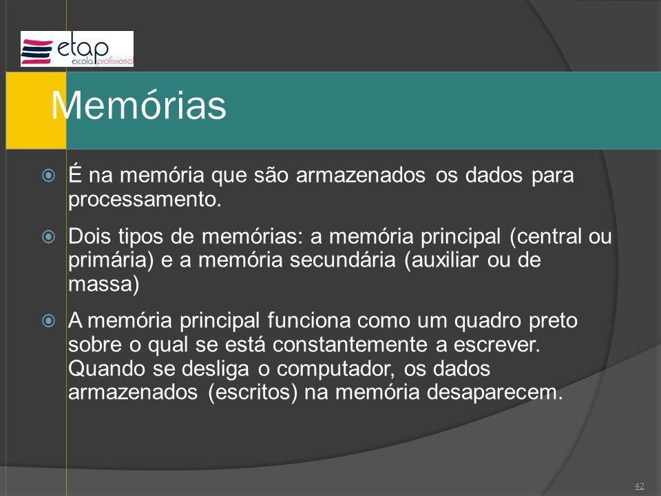 Memórias É na memória que são armazenados os dados para processamento.