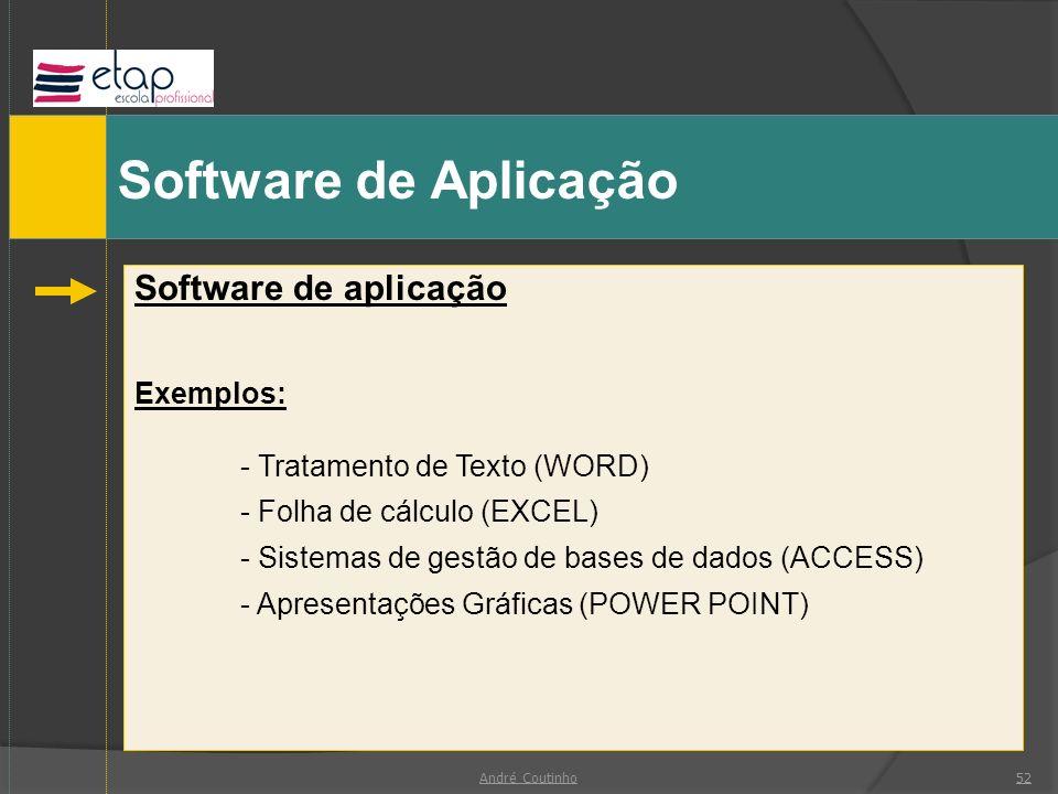 Software de Aplicação Software de aplicação Exemplos: