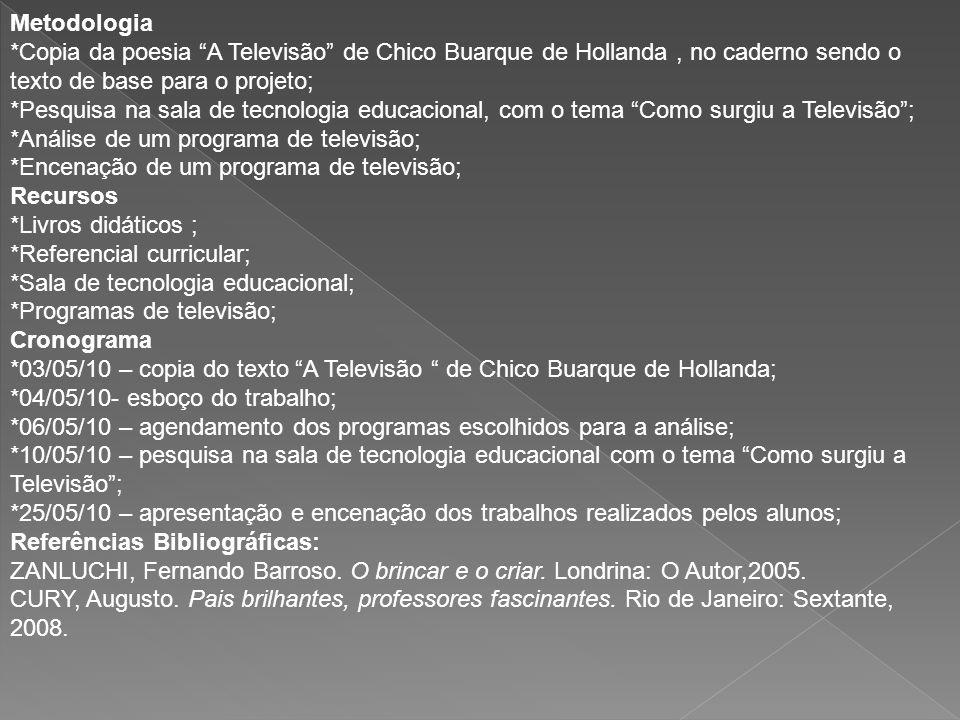 Metodologia *Copia da poesia A Televisão de Chico Buarque de Hollanda , no caderno sendo o texto de base para o projeto;