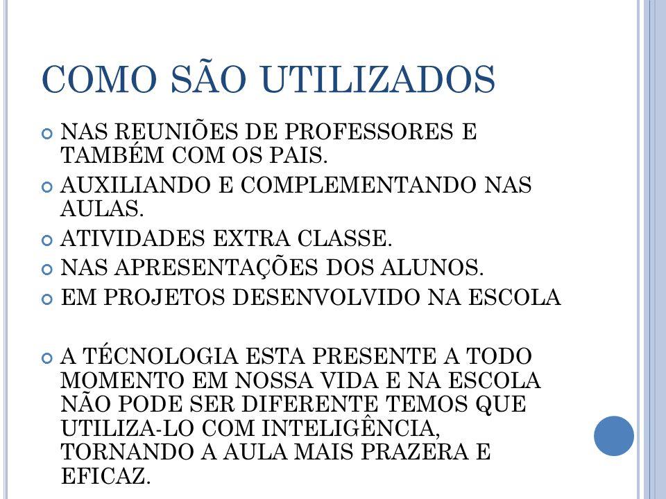 COMO SÃO UTILIZADOS NAS REUNIÕES DE PROFESSORES E TAMBÉM COM OS PAIS.