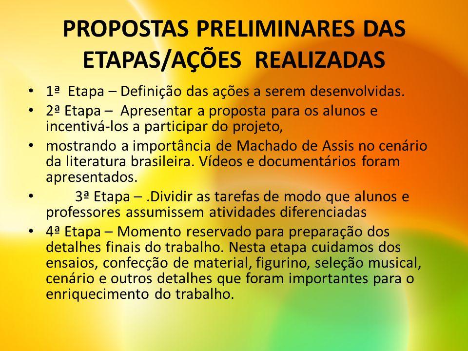 PROPOSTAS PRELIMINARES DAS ETAPAS/AÇÕES REALIZADAS