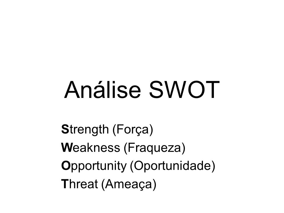 Análise SWOT Strength (Força) Weakness (Fraqueza)