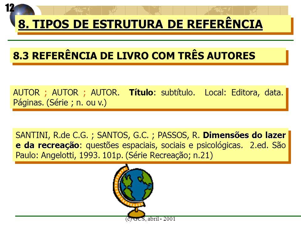 8. TIPOS DE ESTRUTURA DE REFERÊNCIA