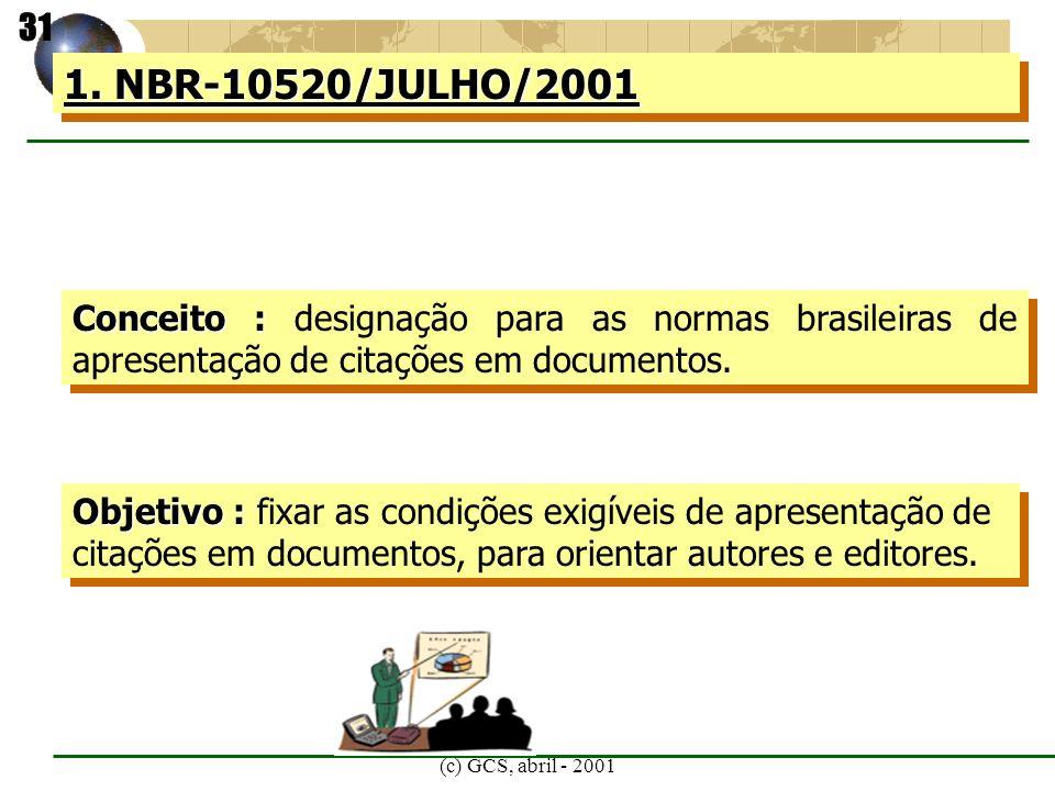 31 1. NBR-10520/JULHO/2001. Conceito : designação para as normas brasileiras de apresentação de citações em documentos.