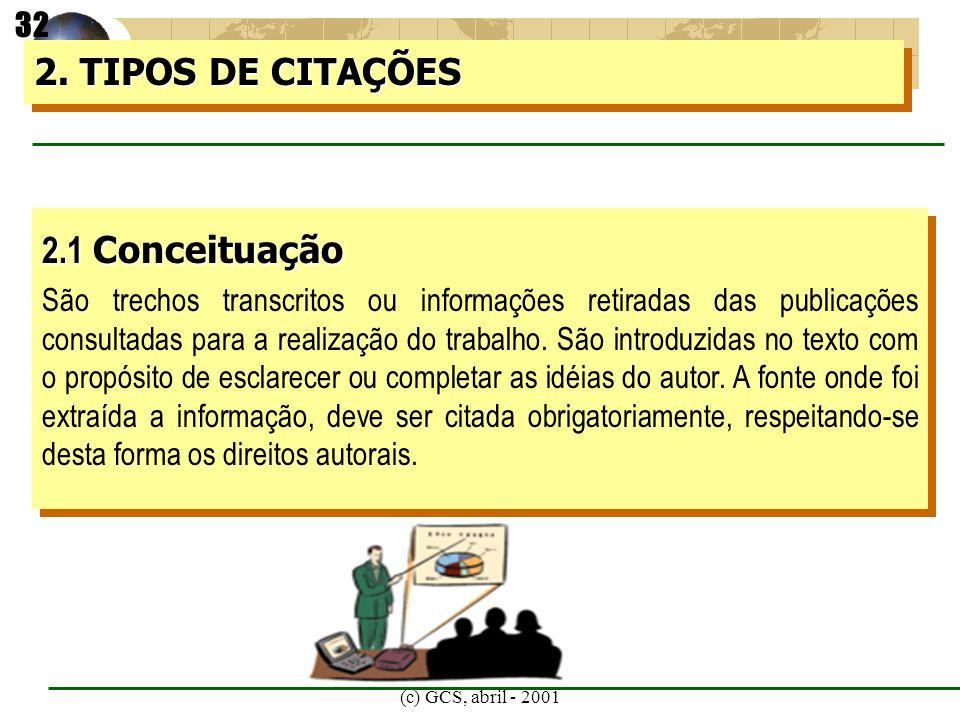 2. TIPOS DE CITAÇÕES 2.1 Conceituação 32