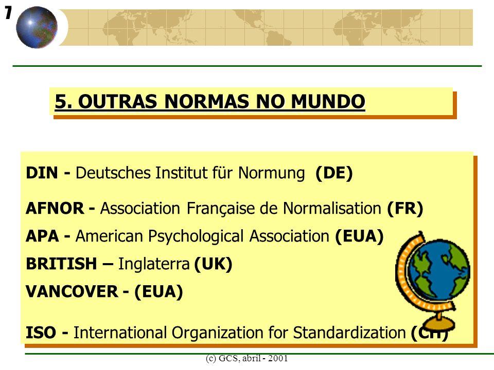5. OUTRAS NORMAS NO MUNDO 7 DIN - Deutsches Institut für Normung (DE)