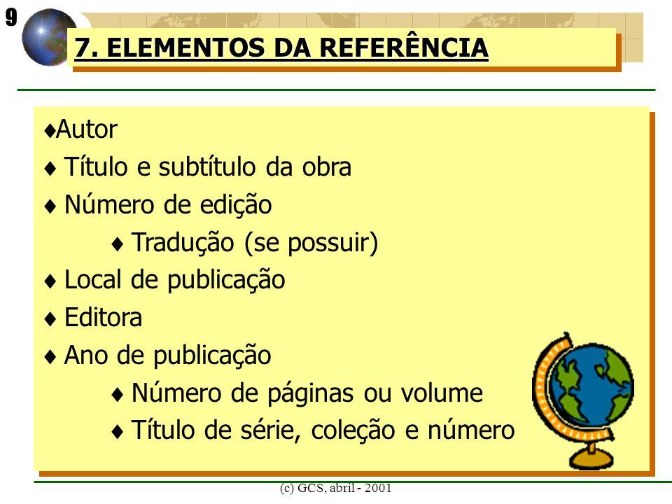 7. ELEMENTOS DA REFERÊNCIA