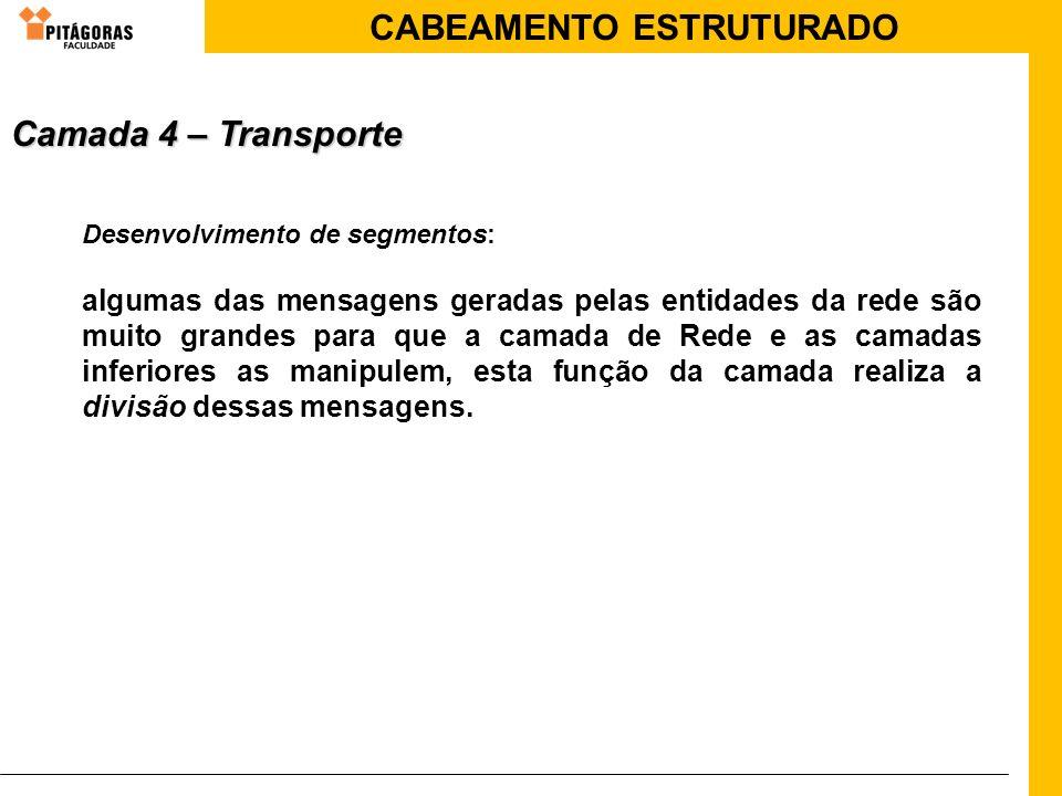 Camada 4 – Transporte Desenvolvimento de segmentos: