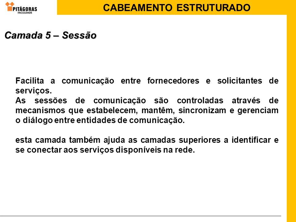 Camada 5 – SessãoFacilita a comunicação entre fornecedores e solicitantes de serviços.