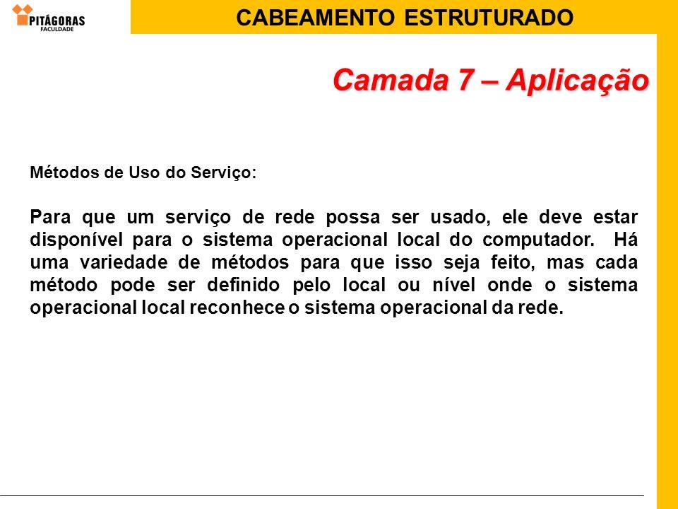 Camada 7 – Aplicação Métodos de Uso do Serviço: