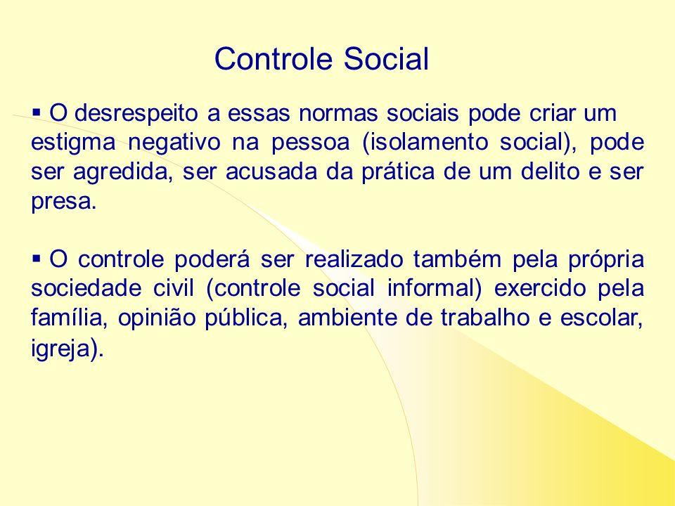 Controle Social O desrespeito a essas normas sociais pode criar um