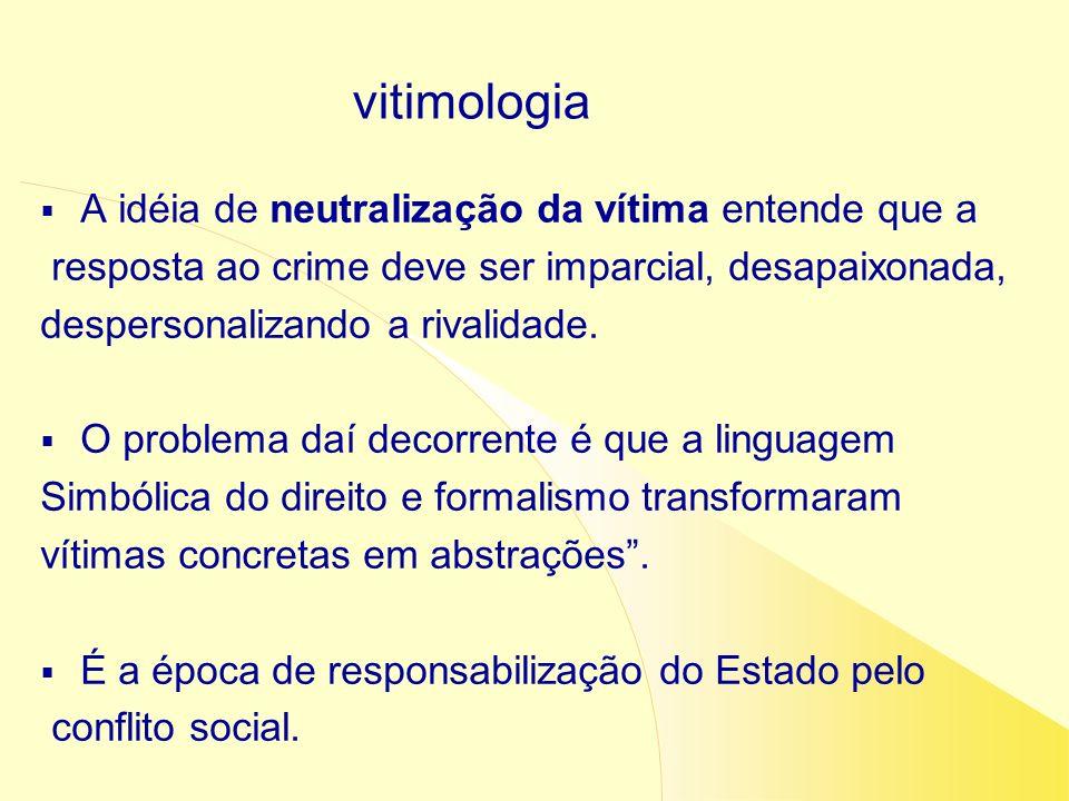 vitimologia A idéia de neutralização da vítima entende que a