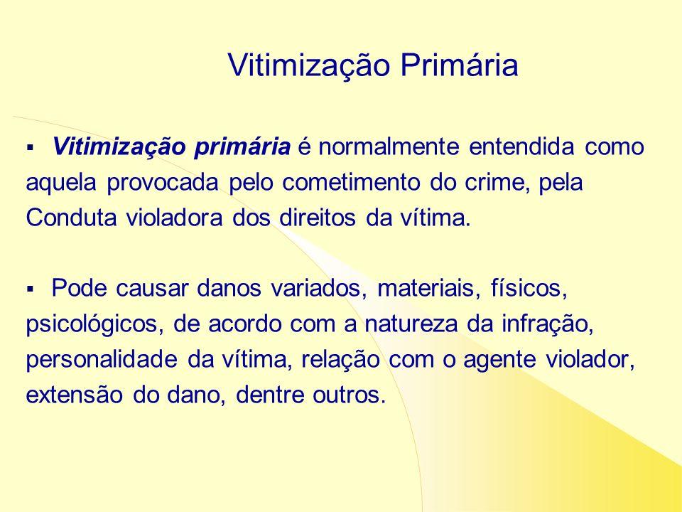 Vitimização Primária Vitimização primária é normalmente entendida como