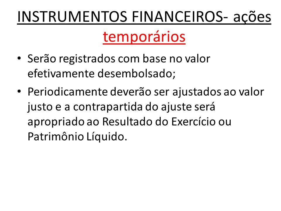 INSTRUMENTOS FINANCEIROS- ações temporários