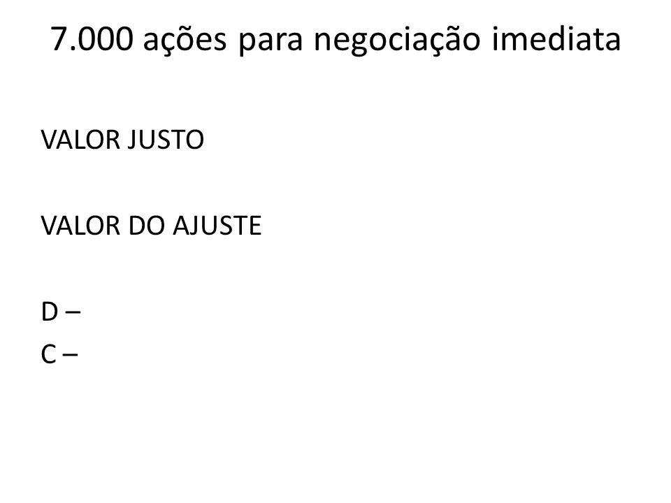 7.000 ações para negociação imediata