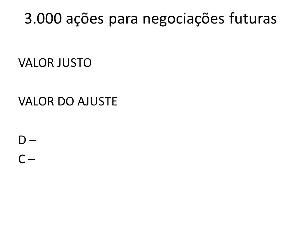 3.000 ações para negociações futuras