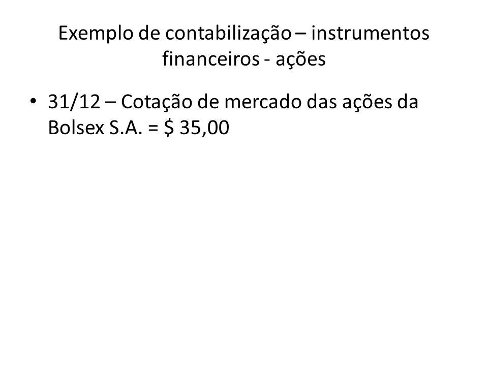 Exemplo de contabilização – instrumentos financeiros - ações