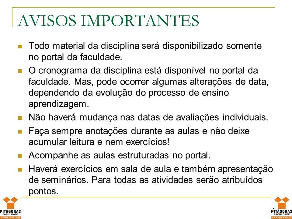 AVISOS IMPORTANTES Todo material da disciplina será disponibilizado somente no portal da faculdade.