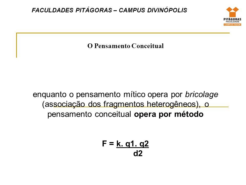 O Pensamento Conceitual enquanto o pensamento mítico opera por bricolage (associação dos fragmentos heterogêneos), o pensamento conceitual opera por método F = k.