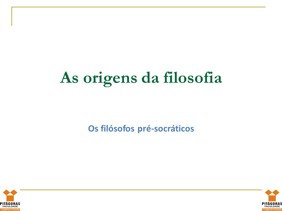 As origens da filosofia