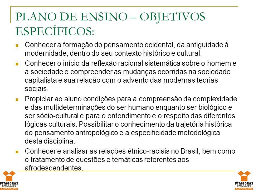PLANO DE ENSINO – OBJETIVOS ESPECÍFICOS:
