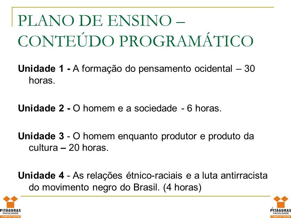 PLANO DE ENSINO – CONTEÚDO PROGRAMÁTICO